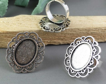 Ring Blanks -5pcs Antique Silver Adjustable Cabochon Ring Base Setting 13x18mm Free Matching Glass Cabochons M304-6