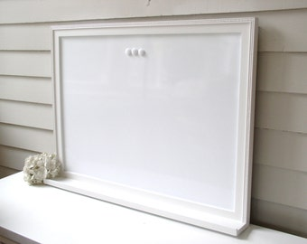 Dry Erase Whiteboard Magnet Board Bright WHITE Furniture Grade Solid Wood Frame 26.5 x 38.5 with Shelf Bulletin Board Ledge for Keys Pen