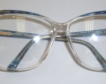 Vintage 1980's Stylish STENDHAL Clear with Marble Blue accent Frames
