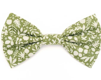 The Laurel Bow Tie — Brooklyn Bowtied, Dog Bowtie, Floral, Flower, Green, Wedding, Dog of Honor, Ring Bearer, Ti, Bowti