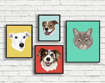 Custom Pet Illustration | Canvas Print | MADE FROM PHOTO | Multiple Sizes | Choose your background color | Dog | Cat | Framed