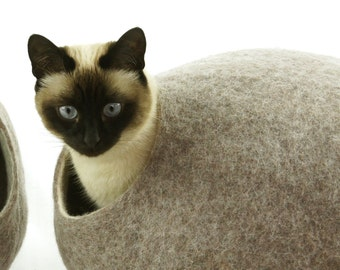 Cat bed, house, cave. Size XL. Natural felted sheep wool. Color sand brown. Made by kivikis.