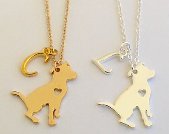 Sale* Personalized Pit Bull Necklaces Gold or Silver plated Initial Charm Gift Free gift bag Christmas gift (9 different dogs available)