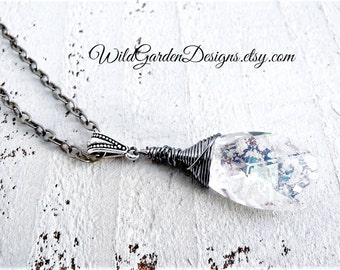 Crystal Pendant on Long Silver Chain Antiqued Silver Necklace Bohemian Pendant Wire Wrapped Crystal Sparkling Antique Style Gift for Her
