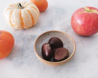Handmade Bowl // side dish // speckle clay // white glaze