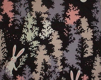 Rabbit Furoshiki 'Rabbits In The Trees' Cotton Japanese Fabric 50cm w/Free Insured Shipping