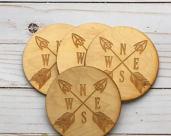 NSEW Arrows Laser Engraved Wood Coasters. Set of 4.