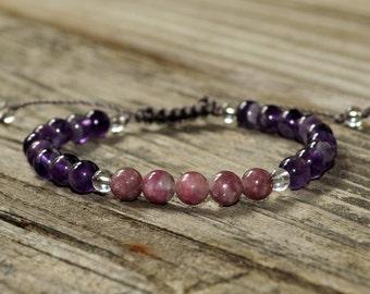 Virgo Energy Mala Bracelet, Amethyst, Tourmaline, Meditation Bracelet, Yoga Bracelet, Crystal Healing Bracelet, Intent, Adjustable Mala