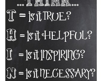 Inspirational Classroom Sign ~ THINK (before acting)   ~