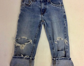 Kids Raw Destroyed Levi  Jeans 5