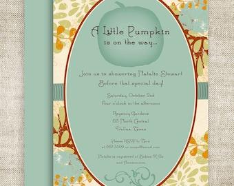 Little Pumpkin Lil' Punkin' BABY SHOWER Invitations Invite Blue Orange Floral Digital diy Printable Personalized - 109174233