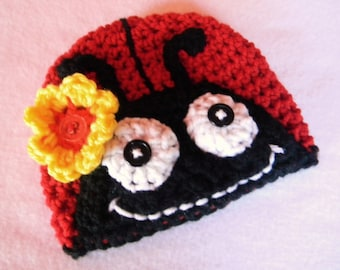 Lady Bug Crochet Hat - Made To Order