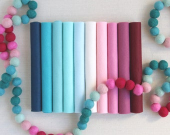 Wool Felt // Sweetheart Ombre // Ombre Crafts, Wool Blend Felt, Gradient Color Sheets, Blue and Pink Felt Assortment, Sweetheart Palette