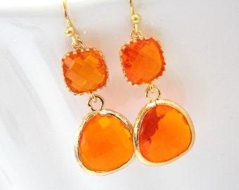Glass Earrings, Orange Earrings, Gold Orange Earrings, Tangerine, Wedding, Bridesmaid Earrings, Bridal Earrings Jewelry, Bridesmaid Gifts