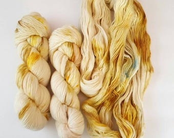 Merino Wool  Single Ply Worsted Weight Tonal Hand Dyed GOLDEN LIGHTS