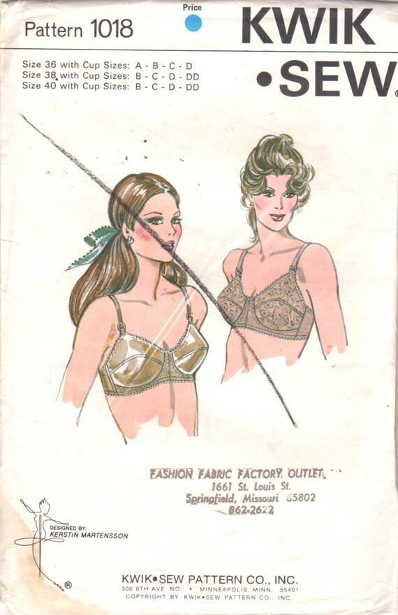 Kwik Nähen 1018 1980s Misses BH Muster Dessous Frauen Vintage