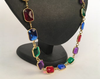 Long jewel-toned beaded gold chain necklace