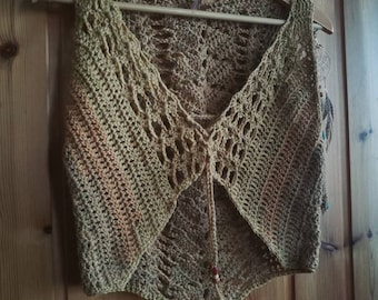 Naturally dyed OOAK wool earthy faerie vest S