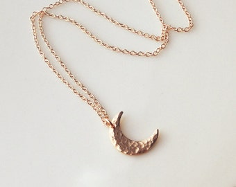 Rose Gold Crescent Moon Necklace, Hammered Crescent Necklace, Modern Moon Necklace, Layering Necklace, Bridesmaids, Mothers, Gift