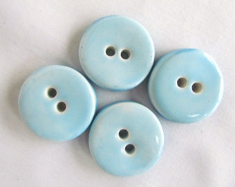 Round Pottery Buttons Bright Turquoise