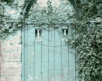 """Door Photography, Blue Door Print, Architecture, Rustic Shabby Aqua Cottage Print, Farmhouse Print, Old Door- """"Weathered Blue Cottage"""""""