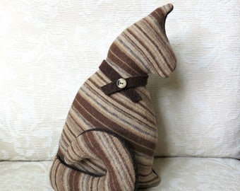 Plush Cat in Brown and Tan Stripes, Repurposed Sweater Wool Stuffed Kitty Softie