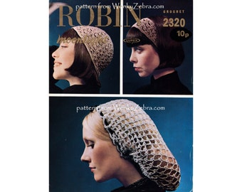 Cap Headband and Snood Vintage Crochet Pattern PDF 768 from WonkyZebra