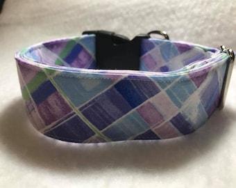 Purple Blues Buckle Dog Collar