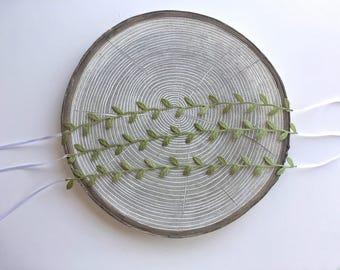 Green Leaf Newborn Tiebacks/ Headband/ Tiebacks/Newborn Headband Photography/ Green Newborn Headband/ Newborn Head Wrap/ Photo Prop