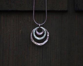 Tri circle copper brass necklace