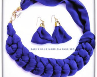 Bari's Handmade All Blue Jewelry Set with necklace and earrings
