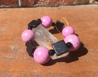Jet and Pink Howlite Beaded Bracelet