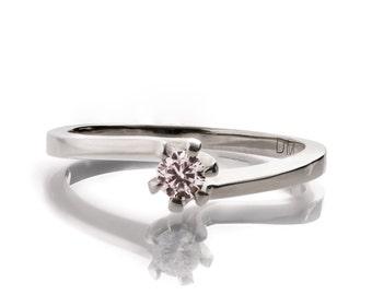 Forever Brilliant Moissanite Engagement Ring - 14K White Gold and Moissanite Engagement Ring, engagement ring, Moissanite ring, R006