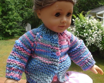 American Girl Doll PDF Knit Sweater Pattern Two Button Cardigan