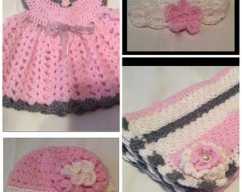Pink, White, and Gray Baby Bundle