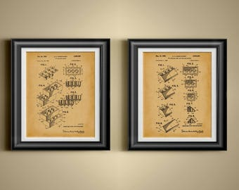Lego Artwork Lego Poster Building Block Wall Art Lego Patent Lego Decor Lego Gift Lego Wall Art Gift for Lego Collector Art Set of 2 PP 4200