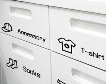 4 Storage Closet Life Decal Stickers - Black (8.8 x 2in)