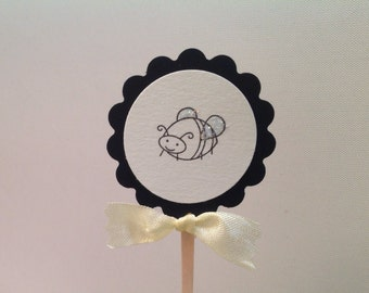 Bumblebee Bee Insect Cupcake Toppers Picks- Decorations For Mom to Bee Shower