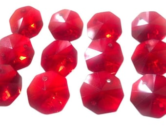 12 Red 14mm Octagon Chandelier Crystal Beads