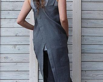 Pocket linen apron / Retro style apron / Pinafore dress / graphite