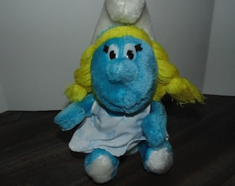 Vintage Plush Smurfette Peyo 1981 Wallace Berrie & Co, Inc