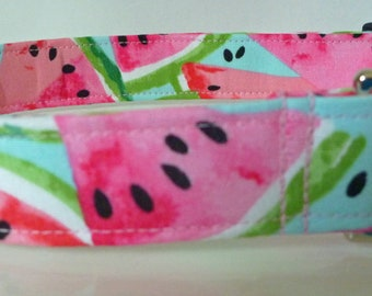"""Watermelon Fruit Dog Collar - - Summer Dog Collar - Pink Red & Turquoise - Boy/Girl Dog Collar -  """"Juicy Goodness"""" - Free Colored Buckles"""