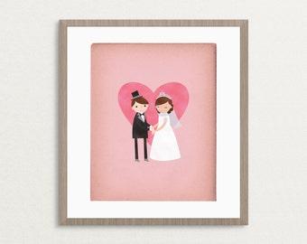 Bride & Groom Wedding - Customizable 8x10 Archival Art Print