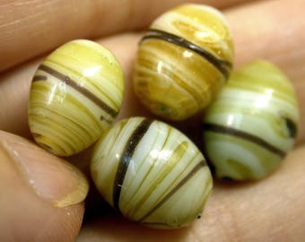 Vintage Glass Beads JAPANESE AMBER Yellow STRIPED 11mm pk4 gl713