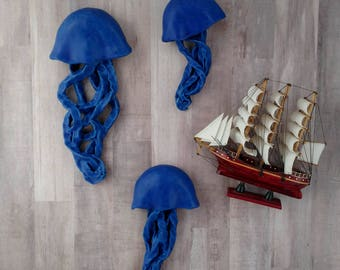 Beach decor. Cobalt Blue Jellyfish ceramic wall sculpture. Set of 3 art installation. Large wall art. Wedding gift. Mermaid wall decor.