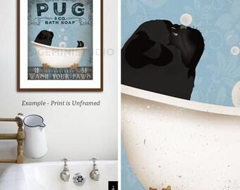 black Pug dog bath soap Company vintage style artwork by Stephen Fowler Giclee Signed Print