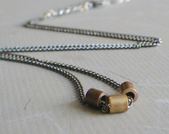Brass Tube Necklace, Simple Necklace, Gunmetal Necklace, Modern Minimalist Jewelry, Industrial Jewelry
