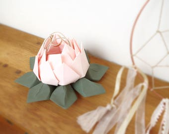 For wedding - lotus flower in pale pink and green - origami country chic wedding ring pillow
