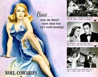 1946 Blithe Spirit Hollywood Movie Poster Constance Cummings Rex Harrison Noel Coward 7Up Soda Ad Advertisement Elvira Pin Up Wall Art Decor