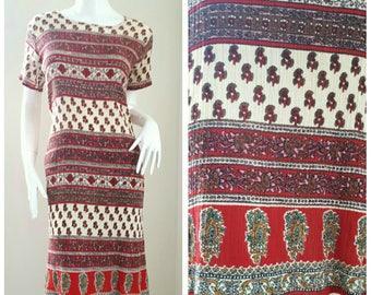 SALE!!! 70s Vintage Indian India Cotton Gypsy Gauze Festival Hippie Midi Dress Size Small - Medium